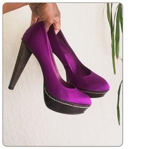 BCBG MAXAZARIA Skyla Magenta Purple Satin Heels